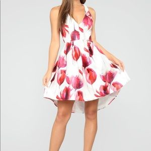 Still Blooming Floral Mini Dress - White/Pink